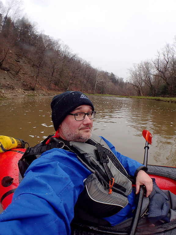 . Jonathan Tressler � The News-Herald <br> The author snaps a selfie as he takes a pause from following the paddling participants April 28 about half-way through the 8 1/2-mile Grand River Canoe & Kayak Race.