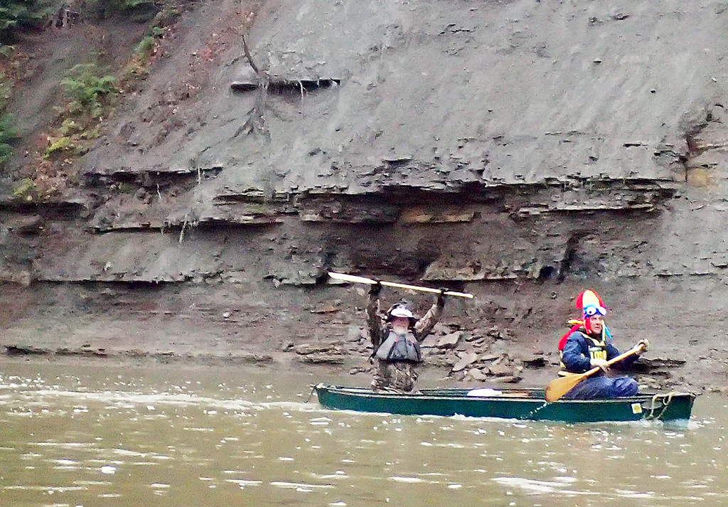 . Jonathan Tressler � The News-Herald <br> Another happy paddler shows his stoke during the 2018 Grand Tiver Canoe and Kayak Race on April 28.