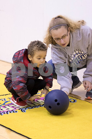 Sam Buckner for Shaw Media.<br /> At the YMCA Healthy Kids Day kids could practice bowling on Saturday April 29, 2017.
