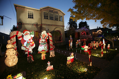 Christmas light displays on Thompson Lane in Alameda