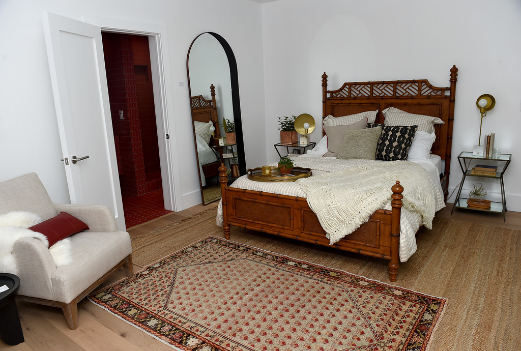 . Double rugs accent the French oak floors in the guest room of this Sunset\'s 2016 Idea House in Berkeley, Calif., on Monday, Aug 22, 2016.  (Susan Tripp Pollard/Bay Area News Group)