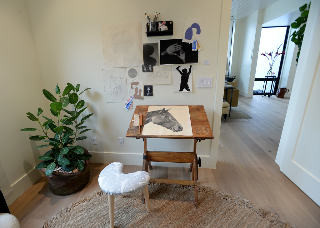 . A vintage easel can be found in the art studio with a collection of sketches by Megan Donegan at this Sunset\'s 2016 Idea House in Berkeley, Calif., on Monday, Aug 22, 2016.  (Susan Tripp Pollard/Bay Area News Group)
