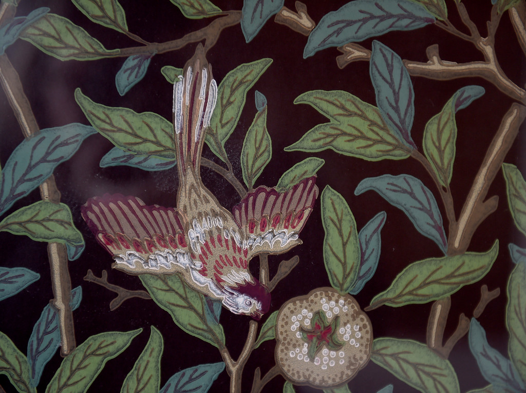 . Bird and pomegranate wallpaper in charcoal and sage by William Morris lines a wall in the kitchen of this Sunset\'s 2016 Idea House in Berkeley, Calif., on Monday, Aug 22, 2016.  (Susan Tripp Pollard/Bay Area News Group)