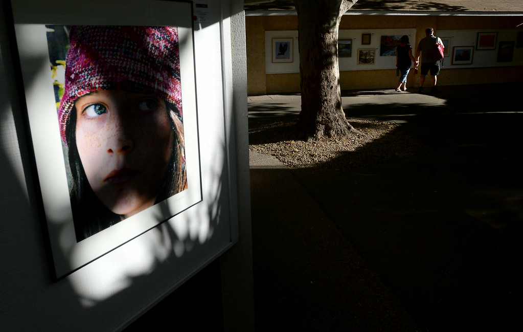 ". A shadow is cast across a photo titled ""Flapper\"" by photographer Theresa Jessie, as fairgoers walk through the Adult Fine Art exhibit at the Alameda County Fair in Pleasanton, Calif., on Saturday, July 5, 2014. (Doug Duran/Bay Area News Group)"