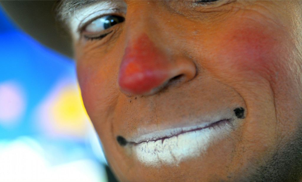 ". Todd Victor of Santa Rosa, who is also known as ""Topper Todd,\"" the clown, has his photo taken at the Alameda County Fair on Wednesday, July 2, 2014. (Doug Duran/Bay Area News Group)"