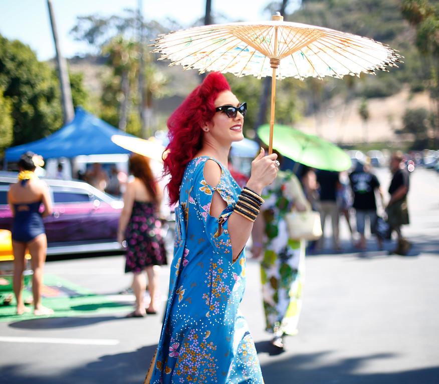 ". Leila Farhangi, of Escondido, is photographed at the car show at the 16th Annual Tiki Oasis ""Party on Monster Island,\"" at the Crown Plaza, formerly the Hanalei Hotel in San Diego, Calif., on Friday, August 19, 2016. (Josie Lepe/Bay Area News Group)"