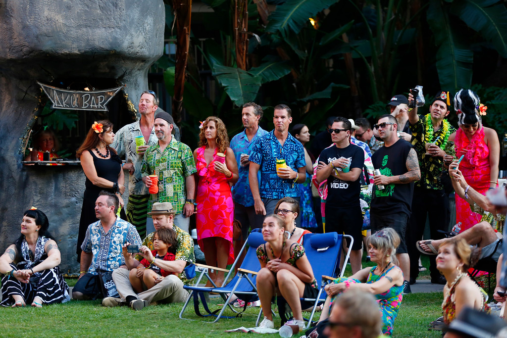 """. A crowd watches concerts at the 16th Annual Tiki Oasis \""""Party on Monster Island,\"""" at the Crown Plaza, formerly the Hanalei Hotel in San Diego, Calif., on Friday, August 19, 2016. (Josie Lepe/Bay Area News Group)"""
