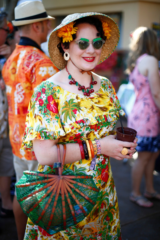 ". Mary Van Note, of Vallejo, says ""I love vintage and having an option to wear it is fun\"" and is photographed at the 16th Annual Tiki Oasis \""Party on Monster Island,\"" at the Crown Plaza, formerly the Hanalei Hotel in San Diego, Calif., on Friday, August 19, 2016. (Josie Lepe/Bay Area News Group)"