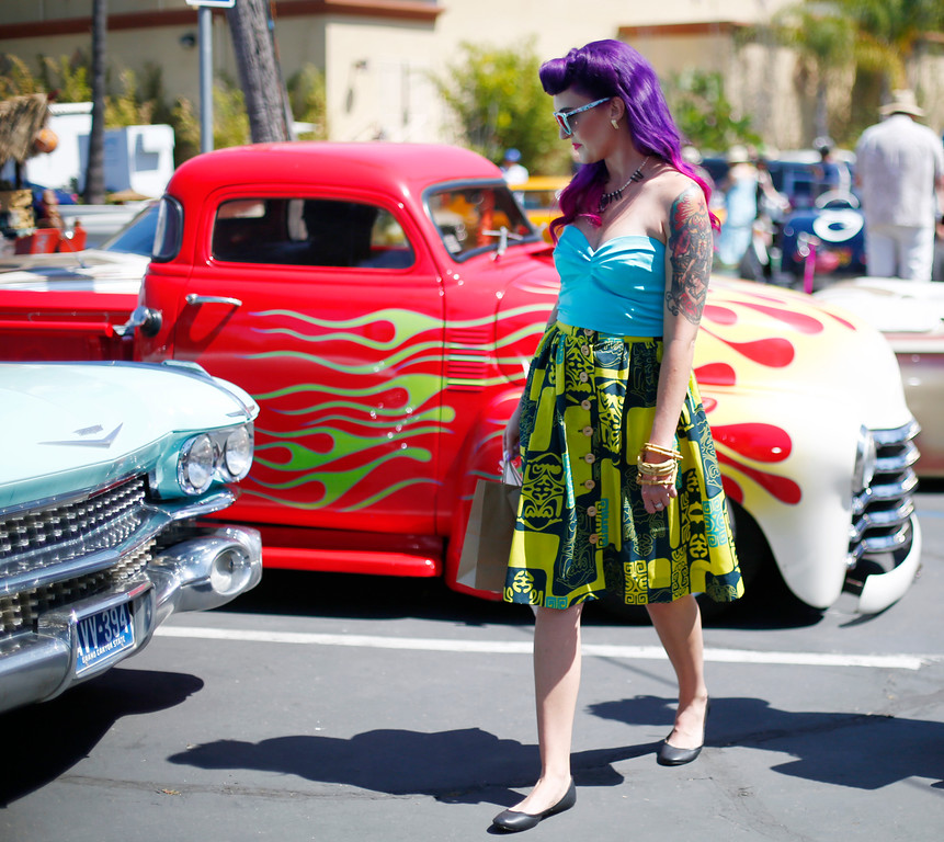 """. Nicole Reynolds, of San Jose is photographed at the car show at the 16th Annual Tiki Oasis \""""Party on Monster Island,\"""" at the Crown Plaza, formerly the Hanalei Hotel in San Diego, Calif., on Friday, August 19, 2016. (Josie Lepe/Bay Area News Group)"""