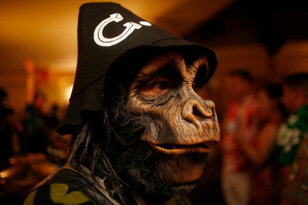 ". A member of the Creepxotica band is photographed at the 16th Annual Tiki Oasis ""Party on Monster Island,\"" at the Crown Plaza, formerly the Hanalei Hotel in San Diego, Calif., on Friday, August 19, 2016. (Josie Lepe/Bay Area News Group)"