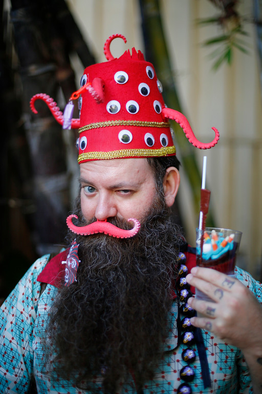 """. Cameron Obscura \""""I am the Giant Atomic Squid,\"""" of Las Vegas, is photographed at the 16th Annual Tiki Oasis \""""Party on Monster Island,\"""" at the Crown Plaza, formerly the Hanalei Hotel in San Diego, Calif., on Friday, August 19, 2016. (Josie Lepe/Bay Area News Group)"""