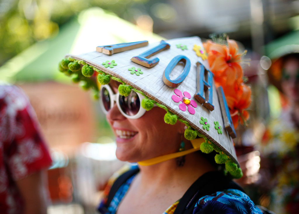 """. Karen Sheeler, of North Ridge, is photographed wearing an aloha straw hat at the 16th Annual Tiki Oasis \""""Party on Monster Island,\""""  at the Crown Plaza, formerly the Hanalei Hotel in San Diego, Calif., on Friday, August 19, 2016. (Josie Lepe/Bay Area News Group)"""