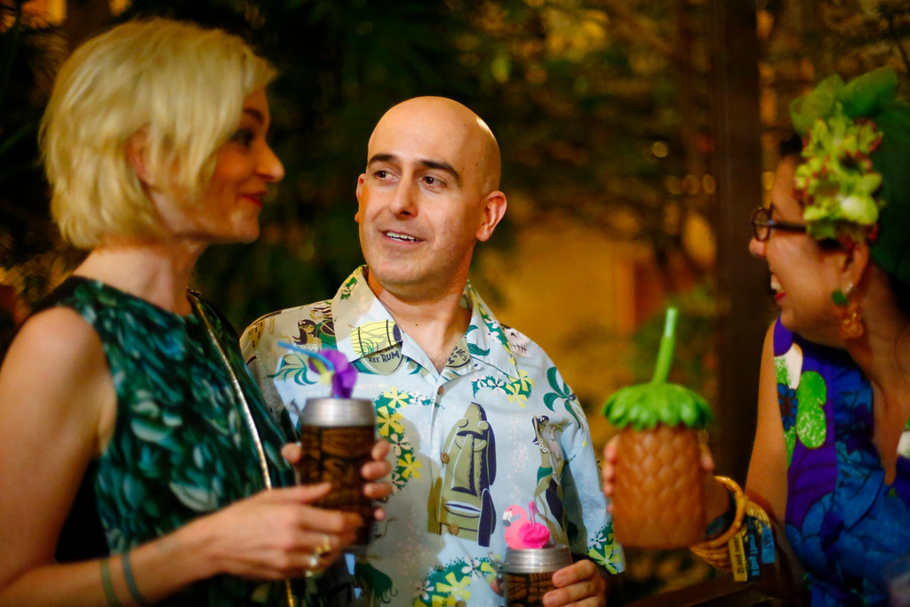 """. Elaine Sitterson, Alan Salmassian, of San Jose, and Julie Espy, of Campbell, converse at the16th Annual Tiki Oasis \""""Party on Monster Island,\"""" at the Crown Plaza, formerly the Hanalei Hotel in San Diego, Calif., on Friday, August 19, 2016. (Josie Lepe/Bay Area News Group)"""