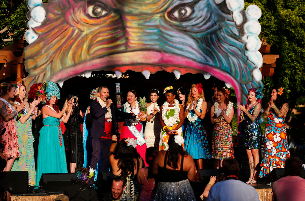 """. Participants of the Miss Tiki Oasis pageant on stage at the 16th Annual Tiki Oasis \""""Party on Monster Island,\"""" at the Crown Plaza, formerly the Hanalei Hotel in San Diego, Calif., on Friday, August 19, 2016. (Josie Lepe/Bay Area News Group)"""