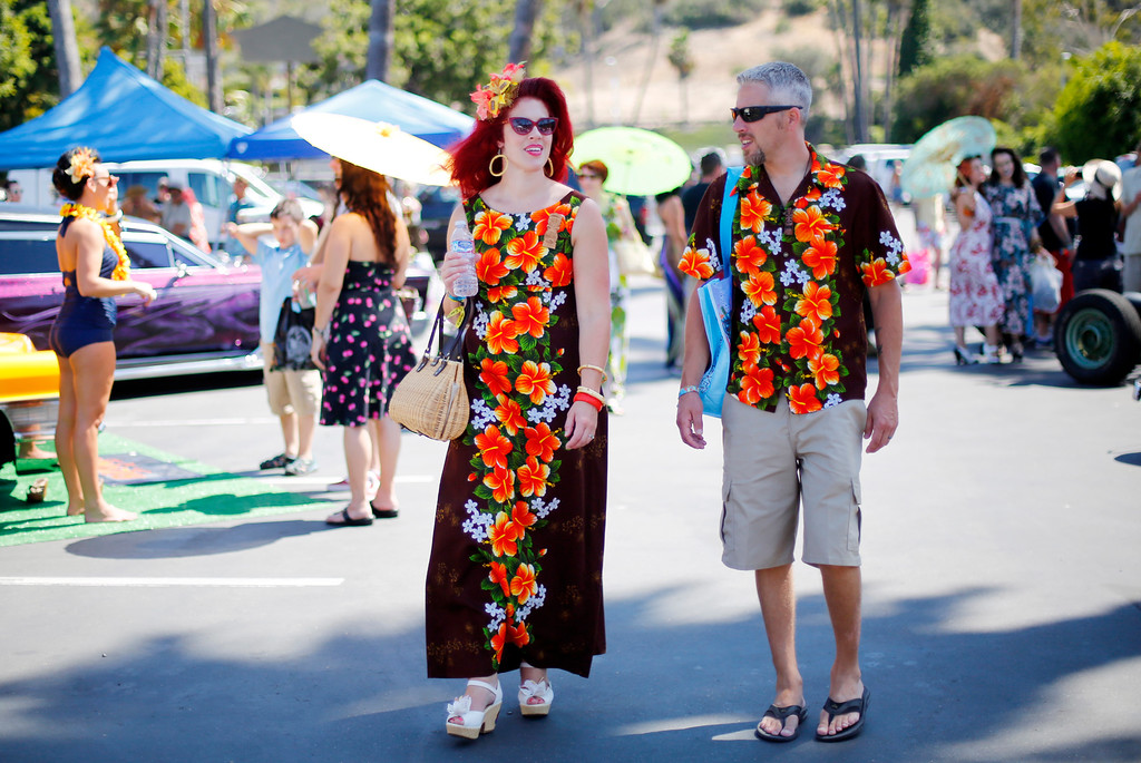""". Jessica and Corey Allen, of San Jose are photographed at the car show at the 16th Annual Tiki Oasis \""""Party on Monster Island,\"""" at the Crown Plaza, formerly the Hanalei Hotel in San Diego, Calif., on Friday, August 19, 2016. (Josie Lepe/Bay Area News Group)"""