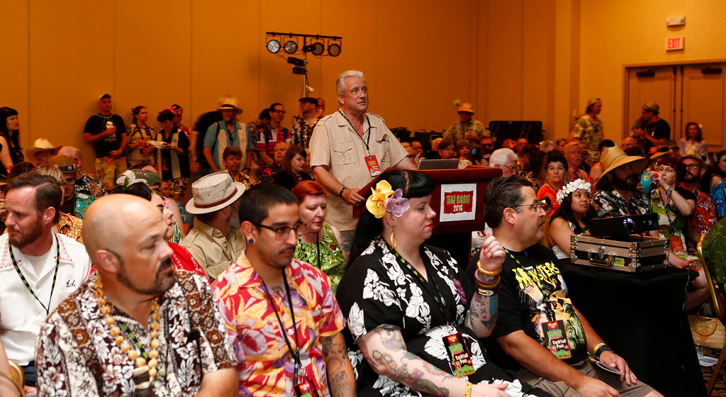 """. Educator Sven Kirsten, center, is photographed during presentation to al packed room at the 16th Annual Tiki Oasis \""""Party on Monster Island,\"""" at the Crown Plaza, formerly the Hanalei Hotel in San Diego, Calif., on Friday, August 19, 2016. (Josie Lepe/Bay Area News Group)"""