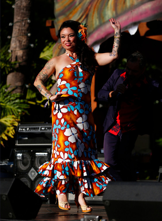 """. Bunny Pistol, of Alameda, participates in the Miss tiki Oasis pageant at the 16th Annual Tiki Oasis \""""Party on Monster Island,\"""" at the Crown Plaza, formerly the Hanalei Hotel in San Diego, Calif., on Friday, August 19, 2016. (Josie Lepe/Bay Area News Group)"""