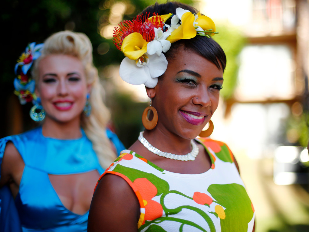 """. Cocoa Desoto, of Vallejo, participates in the Miss Tiki Oasis pageant at the 16th Annual Tiki Oasis \""""Party on Monster Island,\"""" at the Crown Plaza, formerly the Hanalei Hotel in San Diego, Calif., on Friday, August 19, 2016. (Josie Lepe/Bay Area News Group)"""