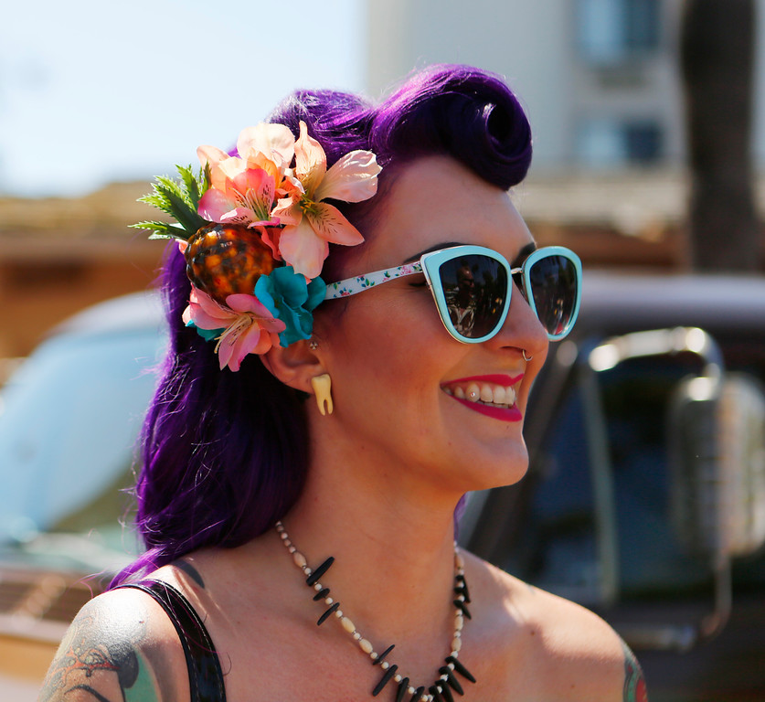 . Nicole Reynolds, of San Jose is photographed at car show at the 16th Annual Tiki Oasis at the Crown Plaza, formerly the Hanalei Hotel in San Diego , Calif., on Saturday, August 20, 2016. (Josie Lepe/Bay Area News Group)