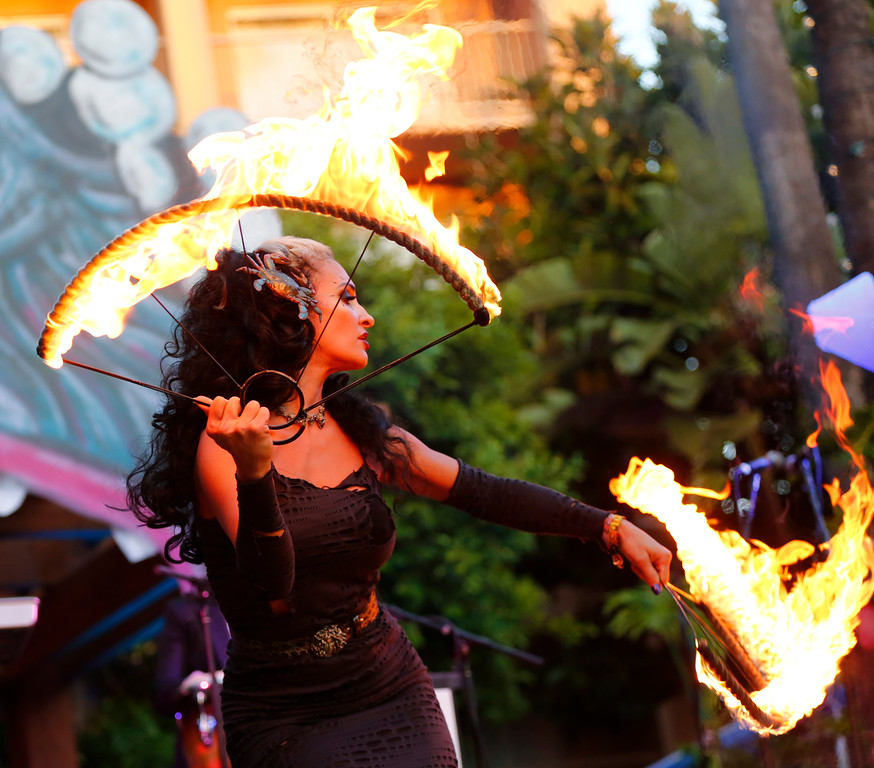 ". Marina the ""Fire Eating Mermaid,\"" of Fort Lauderdale, performs at the 16th Annual Tiki Oasis \""Party on Monster Island,\"" at the Crown Plaza, formerly the Hanalei Hotel in San Diego, Calif., on Friday, August 19, 2016. (Josie Lepe/Bay Area News Group)"