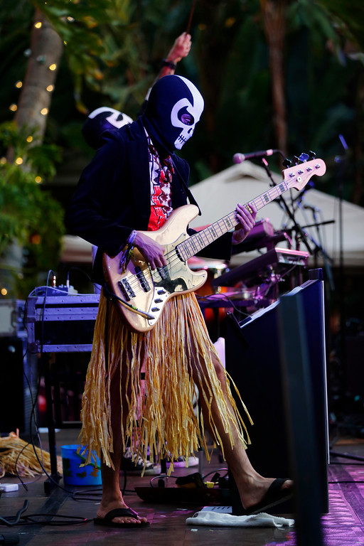 ". A member of the Jimmy Psycho Experiment performs at the16th Annual Tiki Oasis ""Party on Monster Island,\"" at the Crown Plaza, formerly the Hanalei Hotel in San Diego, Calif., on Friday, August 19, 2016. (Josie Lepe/Bay Area News Group)"