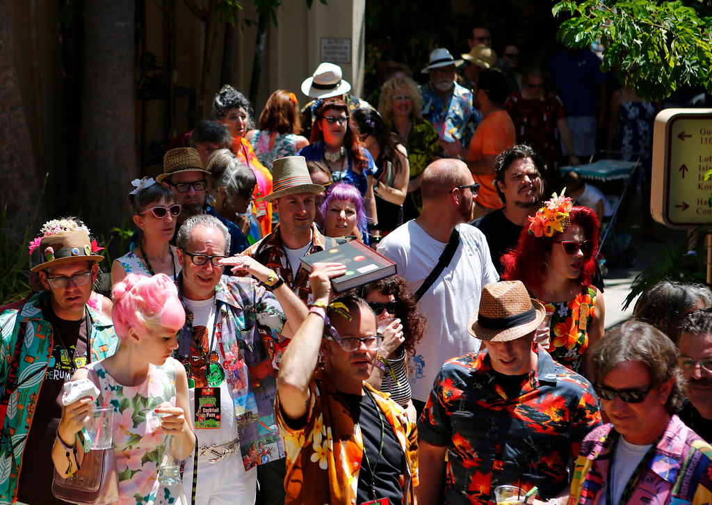 ". Crowd lined up waiting to get in to the lecture by Sven Kirsten at the 16th Annual Tiki Oasis ""Party on Monster Island,\"" at the Crown Plaza, formerly the Hanalei Hotel in San Diego, Calif., on Friday, August 19, 2016. (Josie Lepe/Bay Area News Group)"