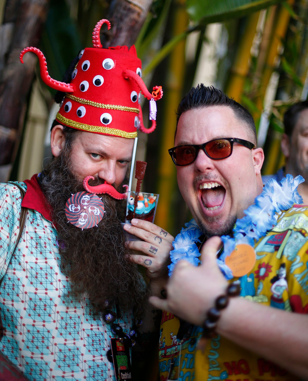 """. Cameron Obscura \""""I am the Giant Atomic Squid,\"""" of Las Vegas, is photographed with Mark Giacin at the 16th Annual Tiki Oasis \""""Party on Monster Island,\"""" at the Crown Plaza, formerly the Hanalei Hotel in San Diego , Calif., on Friday, August 19, 2016. (Josie Lepe/Bay Area News Group)"""