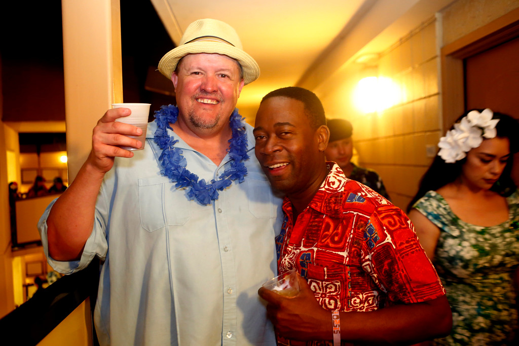 """. Web engineer Mark Holt, of Los Gatos, and Ahmad Giles, of Newark, are photographed at the 16th Annual Tiki Oasis \""""Party on Monster Island,\"""" at the Crown Plaza, formerly the Hanalei Hotel in San Diego, Calif., on Friday, August 19, 2016. (Josie Lepe/Bay Area News Group)"""