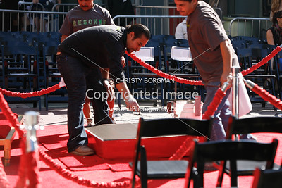 Prepping cement Mickey Rourke's Hand and Footprint Ceremony at Grauman's Chinese Theatre
