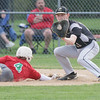 Sycamore's Jacob Reidl, catches the ball on a late throwback to first in an attempt to pick off L-P's Macon Lynch (no,4).