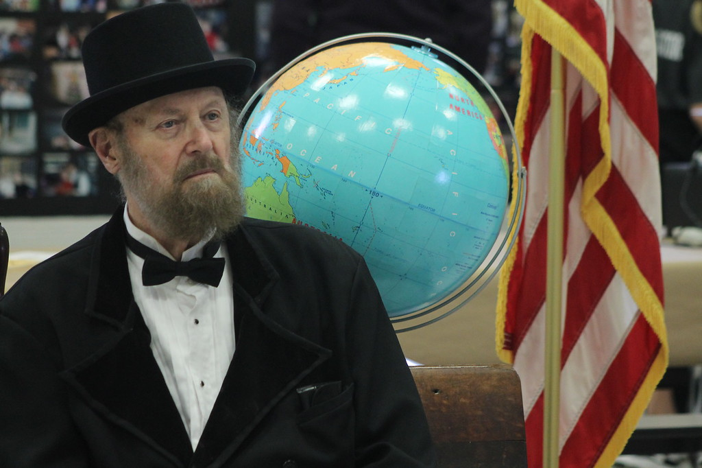 . Kristi Garabrandt � The News-Herald <br> A James Garfield impersonator was part of the entertainment provided at the Later Gator  Bash at Garfield Elementary School  on May 4.