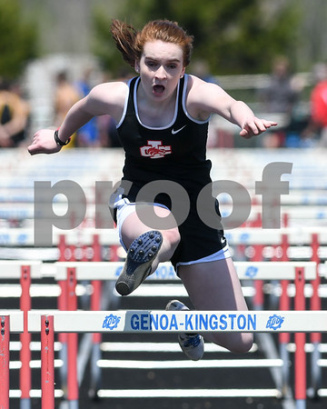 Indian Creek Rachael Andrews competes in the 100 meter Hurdles on May 5th at the Genoa-Kingston invite.