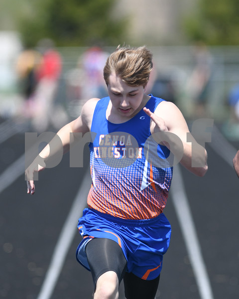 Max Materazzi of Genoa-Kingston competes in the 100 meter run on May 5th at the Genoa-Kingston invite.