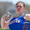 Jayna Ratliff of Genoa-Kingston throws 32 plus feet at the Genoa-Kingston invite on May 5th.