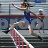 Alison Kramer of Genoa-Kingston competes in the 300 meter hurdlers on May 5th at the Genoa-Kingston invite.