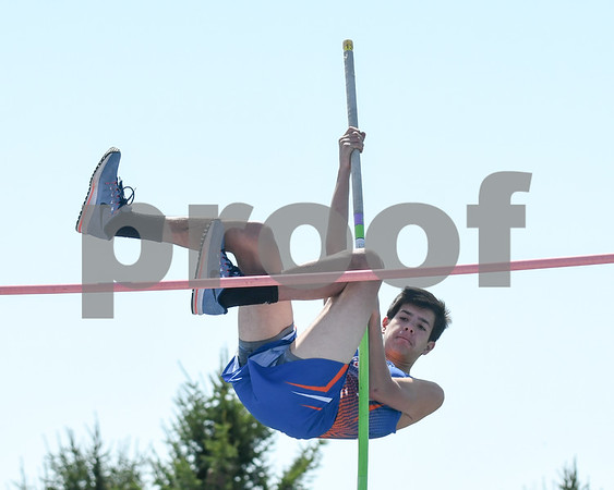 Brennan Peters of Genoa-Kingston clears 8 feet during the pole vault portion of Genoa-Kingston invite held May 5th.