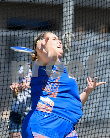 Hannah Mueller of Genoa-Kingston throws 69 feet and some change on her last attempt in the disc portion of the Genoa-Kingston invite on May 5th.