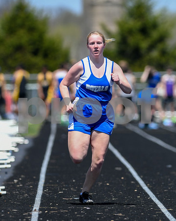 Lauren Engel of Hinkley Big Rock competes in the 100 meter run May 5th during the Genoa-Kingston invite.