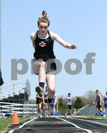 Rachael Andrews competes in the triple jump portion of the Genoa-Kingston invite meet held on May 5th.