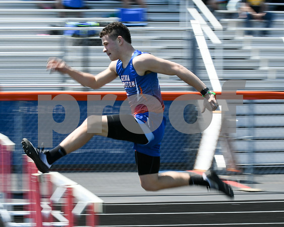 Trace Feliciano competes in the 300 intermediate hurdles during the May 5th Genoa-Kingston invite.