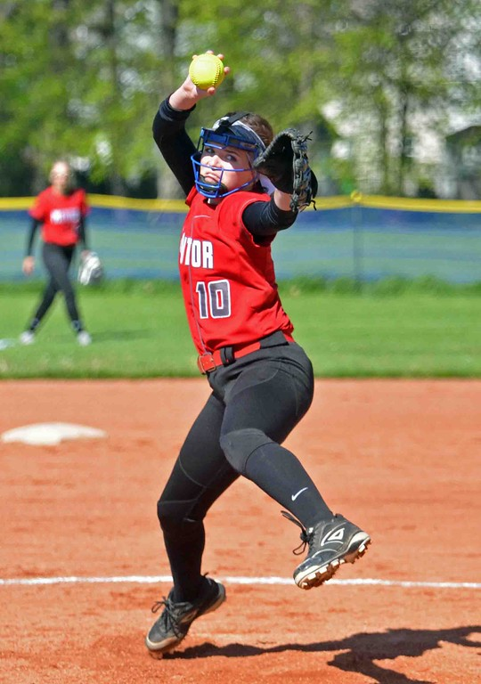 . Paul DiCicco - The News-Herald Mentor\'s Meri Bobrovsky delivers a pitch in the bottom of the first inning against Euclid on May 8.