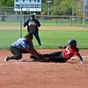 Paul DiCicco - The News-Herald<br />  Mentor's Meri Bobrovsky slides in safely at third under the tag of Sumayah Abdullah.