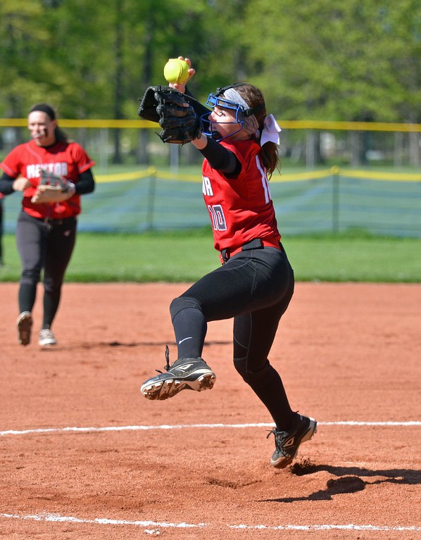 . Paul DiCicco - The News-Herald - Mentor\'s Meri Bobrovsky delivering a pitch to Euclid on May 8.  Mentor went on to win the game, 16-4.