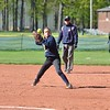 Paul DiCicco - The News-Herald<br /> Euclid's Katelyn Kato throwing to first for the put-out.