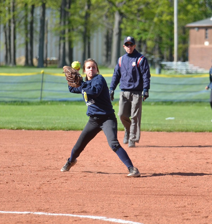 . Paul DiCicco - The News-Herald Euclid\'s Katelyn Kato throwing to first for the put-out.