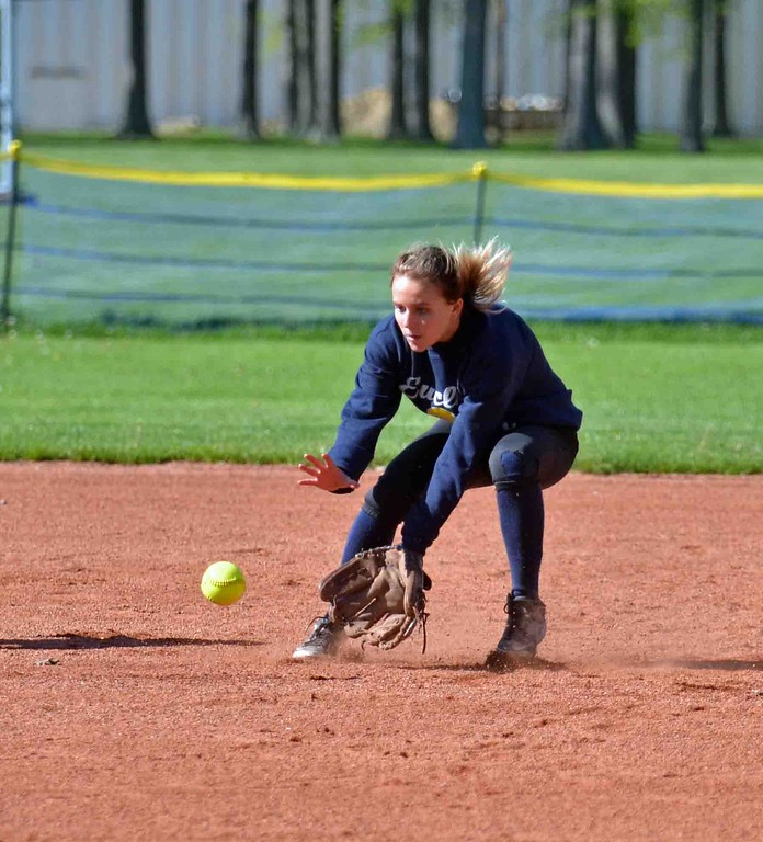 . Paul DiCicco - The News-Herald  Euclid\'s shortstop, Katelyn Kato, cleanly fields the ball in the third inning against Mentor on May 8.