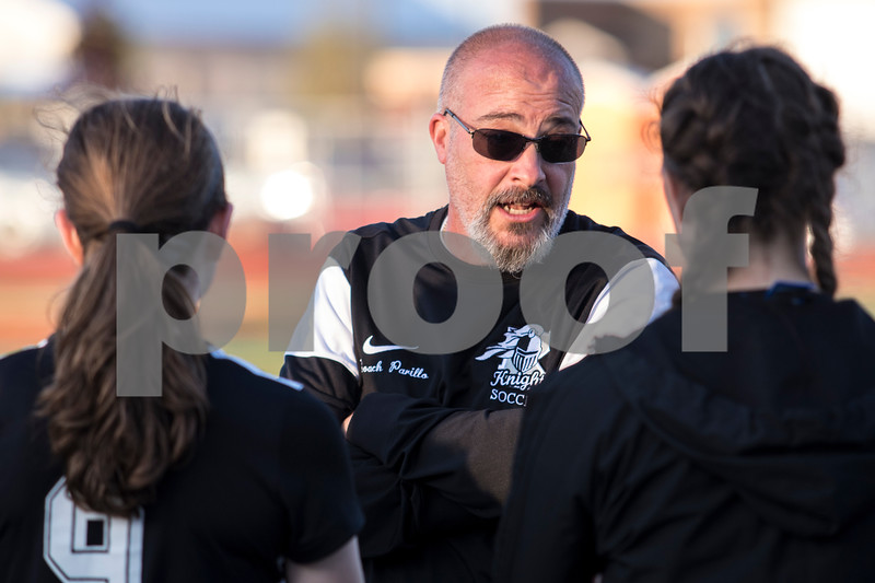 Sam Buckner for Shaw Media.<br /> Kaneland head coach Scott Parrillo gives a pep talk during halftime on Thursday May 11, 2017 against DeKalb.