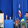 Jonathan Tressler — The News-Herald <br> Lakeland Community College President, Morris Beverage, right, reacts May 13 during the school's 50th Annual Commencement as the school's very first president, Wayne L. Rodehorst, cracks wise during his keynote address.