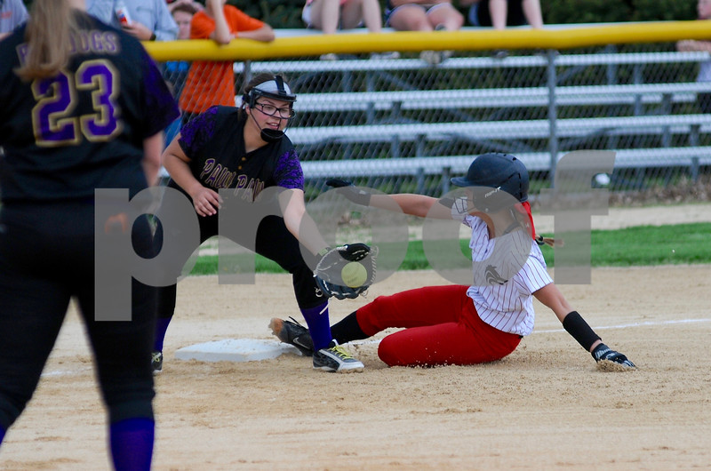 Jesika Lowe of Indian Creek High School slides safely into third base during regional action against Paw Paw on Monday, 14 in Shabbona.  Steve Bittinger - For Shaw Media