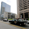 Jonathan Tressler — The News-Herald <br> Some old-school police cruisers cruise Lakeside Avenue May 19 during the 32nd Annual Greater Cleveland Peace Officers Memorial Parade and Memorial Service in Downtown Cleveland.